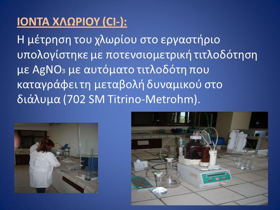 ΙΟΝΤΑ ΧΛΩΡΙΟΥ (CI-): Η μέτρηση του χλωρίου στο εργαστήριο υπολογίστηκε με ποτενσιομετρική τιτλοδότηση με ΑgNO 3 με αυτόματο τιτλοδότη που καταγράφει τη μεταβολή δυναμικού στο διάλυμα (702 SM Titrino-Metrohm).