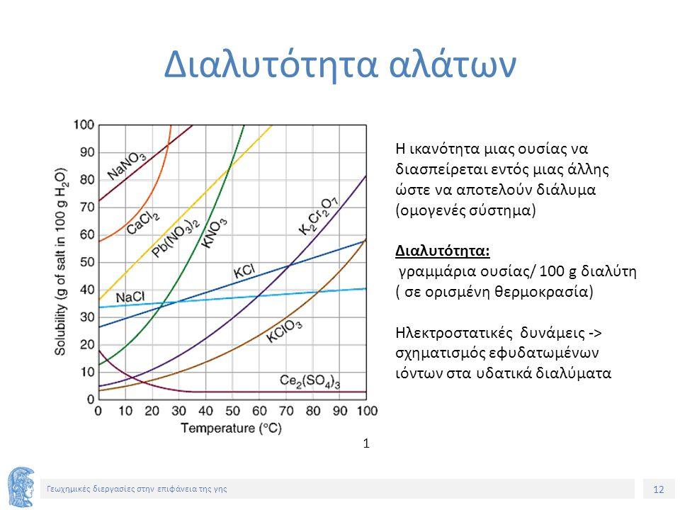 12 Γεωχημικές διεργασίες στην επιφάνεια της γης Διαλυτότητα αλάτων Η ικανότητα μιας ουσίας να διασπείρεται εντός μιας άλλης ώστε να αποτελούν διάλυμα (ομογενές σύστημα) Διαλυτότητα: γραμμάρια ουσίας/ 100 g διαλύτη ( σε ορισμένη θερμοκρασία) Ηλεκτροστατικές δυνάμεις -> σχηματισμός εφυδατωμένων ιόντων στα υδατικά διαλύματα 1