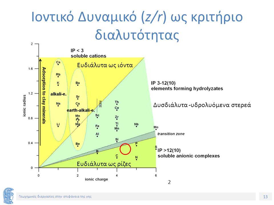 13 Γεωχημικές διεργασίες στην επιφάνεια της γης Ιοντικό Δυναμικό (z/r) ως κριτήριο διαλυτότητας Ευδιάλυτα ως ιόντα Δυσδιάλυτα -υδρολυόμενα στερεά Ευδιάλυτα ως ρίζες 2