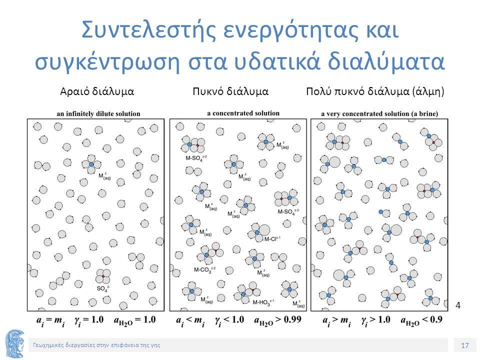 17 Γεωχημικές διεργασίες στην επιφάνεια της γης Συντελεστής ενεργότητας και συγκέντρωση στα υδατικά διαλύματα Αραιό διάλυμαΠυκνό διάλυμαΠολύ πυκνό διάλυμα (άλμη) 4
