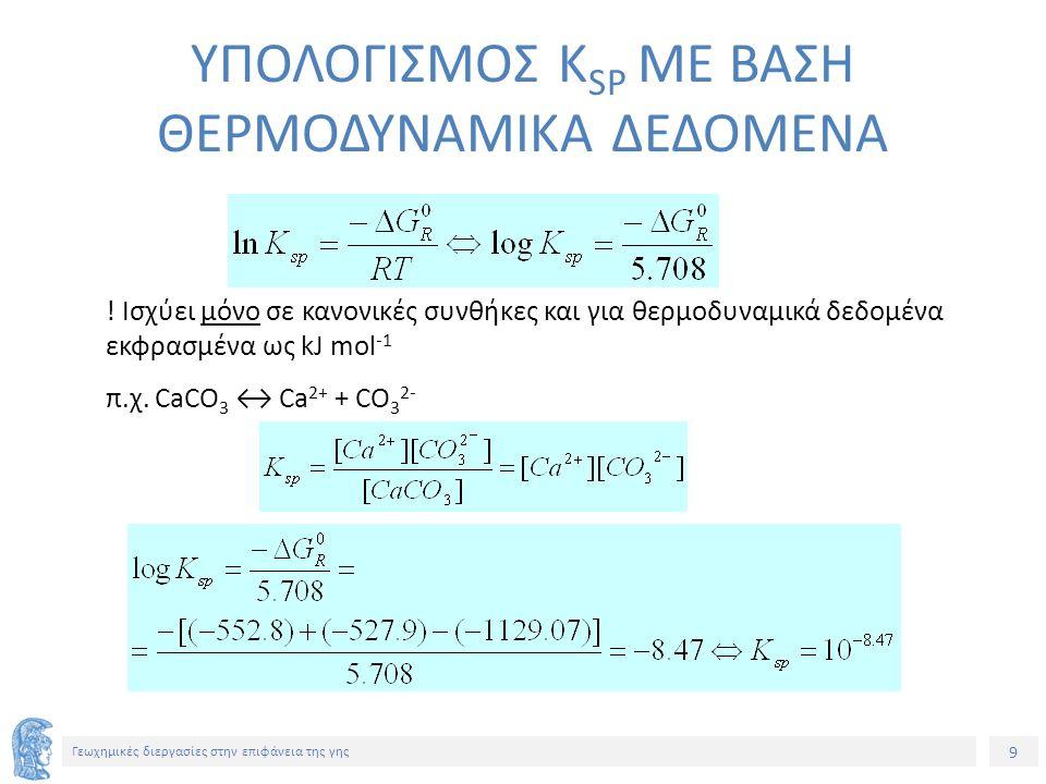 20 Γεωχημικές διεργασίες στην επιφάνεια της γης ΔΕΙΚΤΗΣ ΚΟΡΕΣΜΟΥ ΔΙΑΛΥΜΑΤΟΣ (saturation index) IAP το γινόμενο ενεργότητας των ιόντων (π.χ.: αCa 2+ x α CΟ 3 2- ) Ω = 1  κατάσταση ισορροπίας Ω < 1  Υποκορεσμένο διάλυμα Ω > 1  Υπερκορεσμένο διάλυμα 5