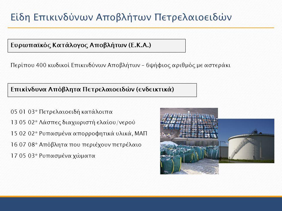 Ευρωπαϊκός Κατάλογος Αποβλήτων (Ε.Κ.Α.) Περίπου 400 κωδικοί Επικινδύνων Αποβλήτων – 6ψήφιος αριθμός με αστεράκι Επικίνδυνα Απόβλητα Πετρελαιοειδών (ενδεικτικά) 05 01 03* Πετρελαιοειδή κατάλοιπα 17 05 03* Ρυπασμένα χώματα 13 05 02* Λάσπες διαχωριστή ελαίου/νερού 16 07 08* Απόβλητα που περιέχουν πετρέλαιο 15 02 02* Ρυπασμένα απορροφητικά υλικά, ΜΑΠ