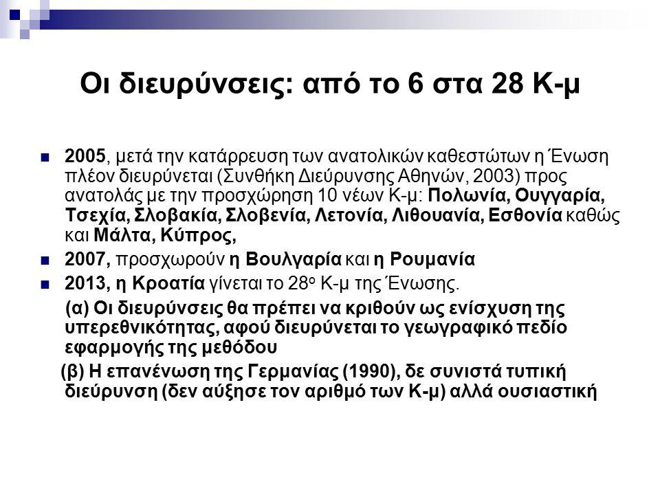 Οι διευρύνσεις: από το 6 στα 28 Κ-μ 2005, μετά την κατάρρευση των ανατολικών καθεστώτων η Ένωση πλέον διευρύνεται (Συνθήκη Διεύρυνσης Αθηνών, 2003) προς ανατολάς με την προσχώρηση 10 νέων Κ-μ: Πολωνία, Ουγγαρία, Τσεχία, Σλοβακία, Σλοβενία, Λετονία, Λιθουανία, Εσθονία καθώς και Μάλτα, Κύπρος, 2007, προσχωρούν η Βουλγαρία και η Ρουμανία 2013, η Κροατία γίνεται το 28 ο Κ-μ της Ένωσης.