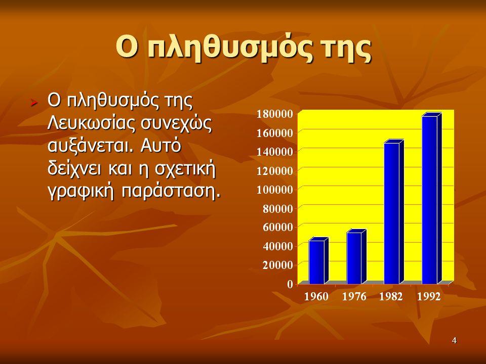 4 Ο πληθυσμός της  Ο πληθυσμός της Λευκωσίας συνεχώς αυξάνεται.