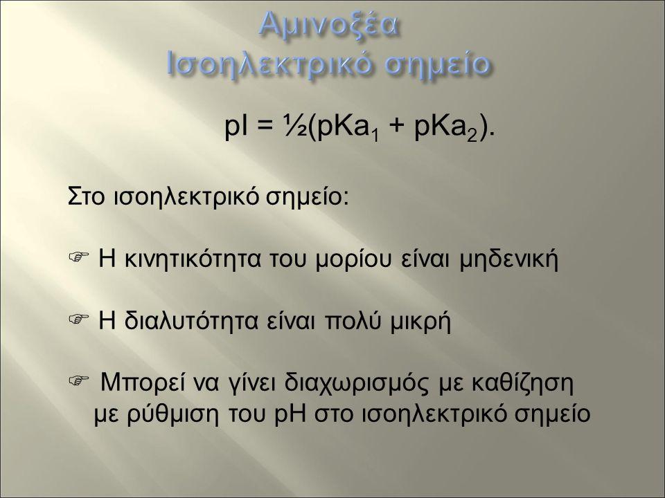 pI = ½(pKa 1 + pKa 2 ).