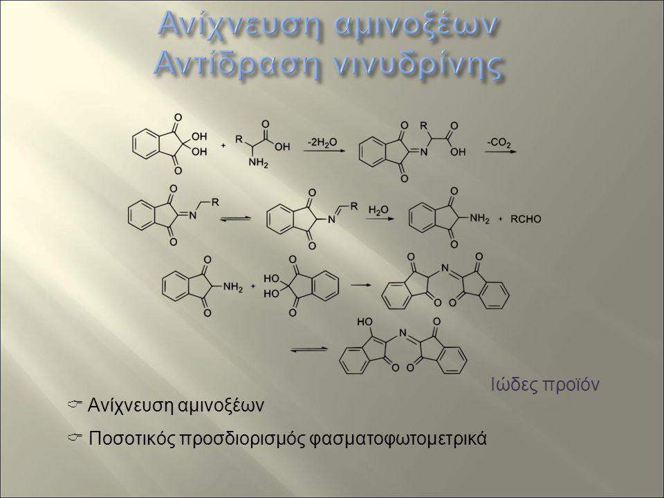  Ανίχνευση αμινοξέων  Ποσοτικός προσδιορισμός φασματοφωτομετρικά Ιώδες προϊόν