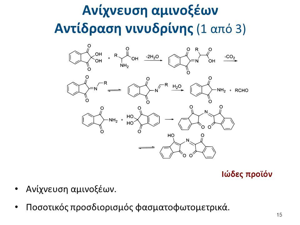 Ανίχνευση αμινοξέων Αντίδραση νινυδρίνης (1 από 3) 15 Ανίχνευση αμινοξέων.
