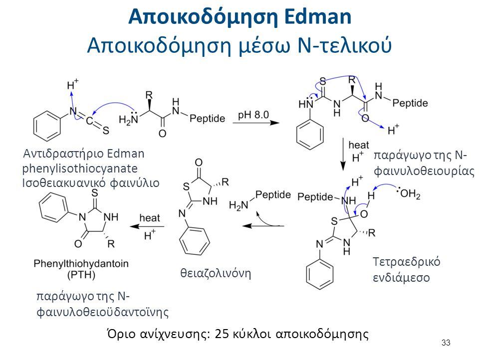 Αποικοδόμηση Edman Αποικοδόμηση μέσω Ν-τελικού 33 Αντιδραστήριο Edman phenylisothiocyanate Ισοθειακυανικό φαινύλιο Όριο ανίχνευσης: 25 κύκλοι αποικοδόμησης παράγωγο της Ν- φαινυλοθειουρίας Τετραεδρικό ενδιάμεσο θειαζολινόνη παράγωγο της Ν- φαινυλοθειοϋδαντοϊνης