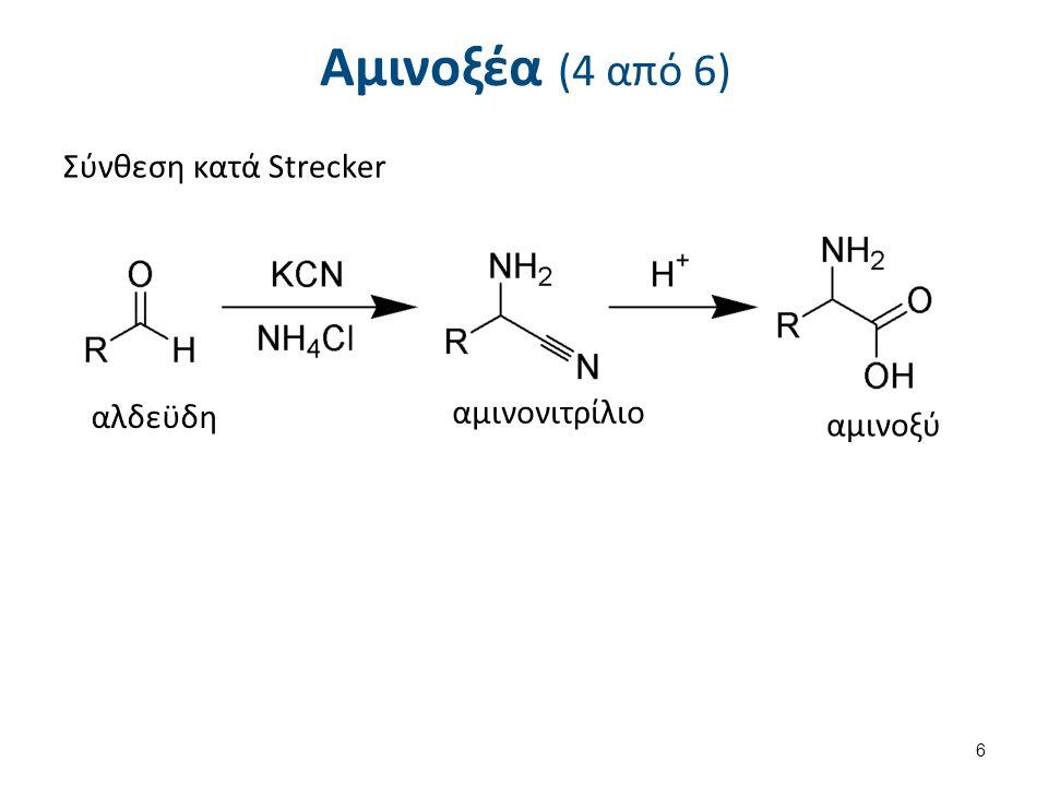 Αμινοξέα (4 από 6) Σύνθεση κατά Strecker 6 αλδεϋδη αμινονιτρίλιο αμινοξύ