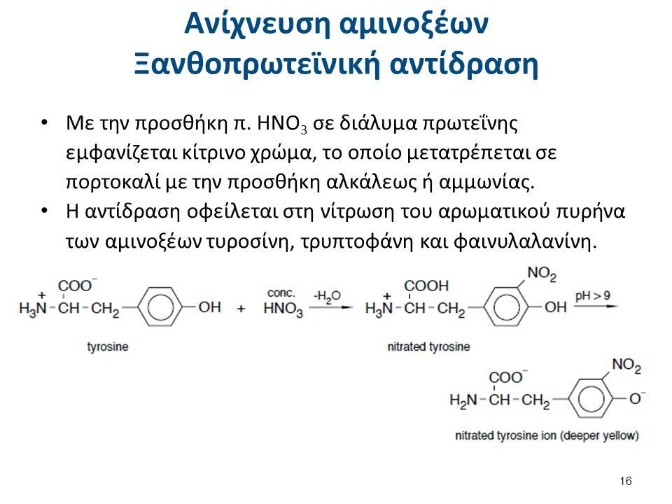 Ανίχνευση αμινοξέων Ξανθοπρωτεϊνική αντίδραση Με την προσθήκη π. ΗΝΟ 3 σε διάλυμα πρωτεΐνης εμφανίζεται κίτρινο χρώμα, το οποίο μετατρέπεται σε πορτοκ