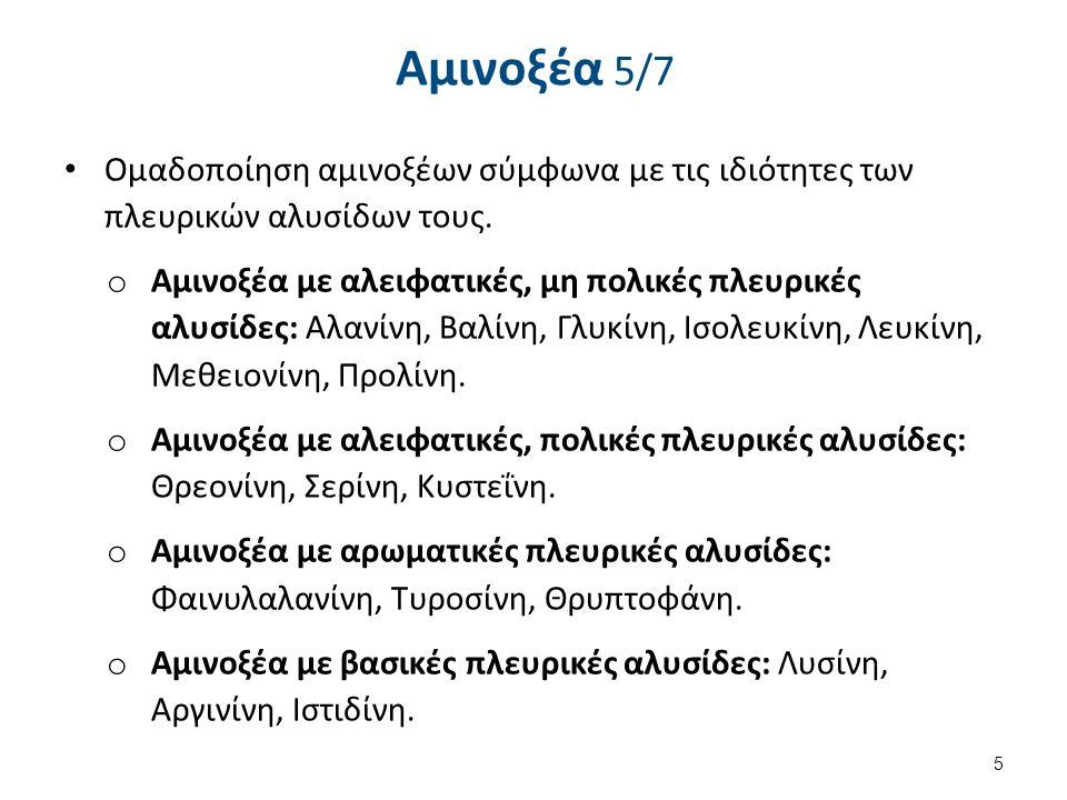 Αμινοξέα 5/7 Ομαδοποίηση αμινοξέων σύμφωνα με τις ιδιότητες των πλευρικών αλυσίδων τους. o Αμινοξέα με αλειφατικές, μη πολικές πλευρικές αλυσίδες: Αλα