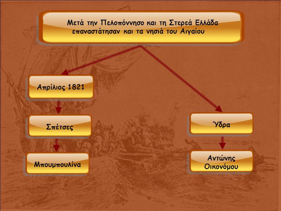 Μετά την Πελοπόννησο και τη Στερεά Ελλάδα επαναστάτησαν και τα νησιά του Αιγαίου Απρίλιος 1821 Σπέτσες Μπουμπουλίνα Ύδρα Αντώνης Οικονόμου