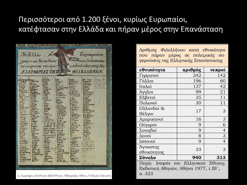 Περισσότεροι από 1.200 ξένοι, κυρίως Ευρωπαίοι, κατέφτασαν στην Ελλάδα και πήραν μέρος στην Επανάσταση