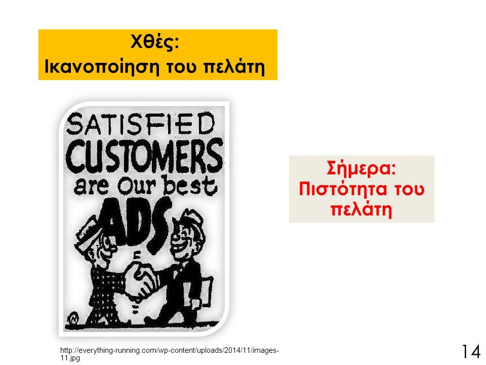 Σήμερα: Πιστότητα του πελάτη Χθές: Ικανοποίηση του πελάτη 14 http://everything-running.com/wp-content/uploads/2014/11/images- 11.jpg