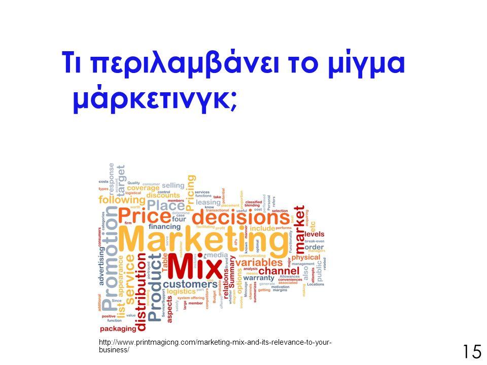 Τι περιλαμβάνει το μίγμα μάρκετινγκ; 15 http://www.printmagicng.com/marketing-mix-and-its-relevance-to-your- business/