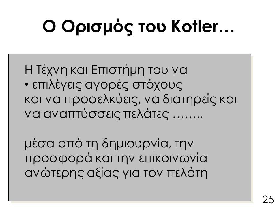 Ο Ορισμός του Kotler… Kotler's defination : Η Τέχνη και Επιστήμη του να επιλέγεις αγορές στόχους και να προσελκύεις, να διατηρείς και να αναπτύσσεις πελάτες ……..