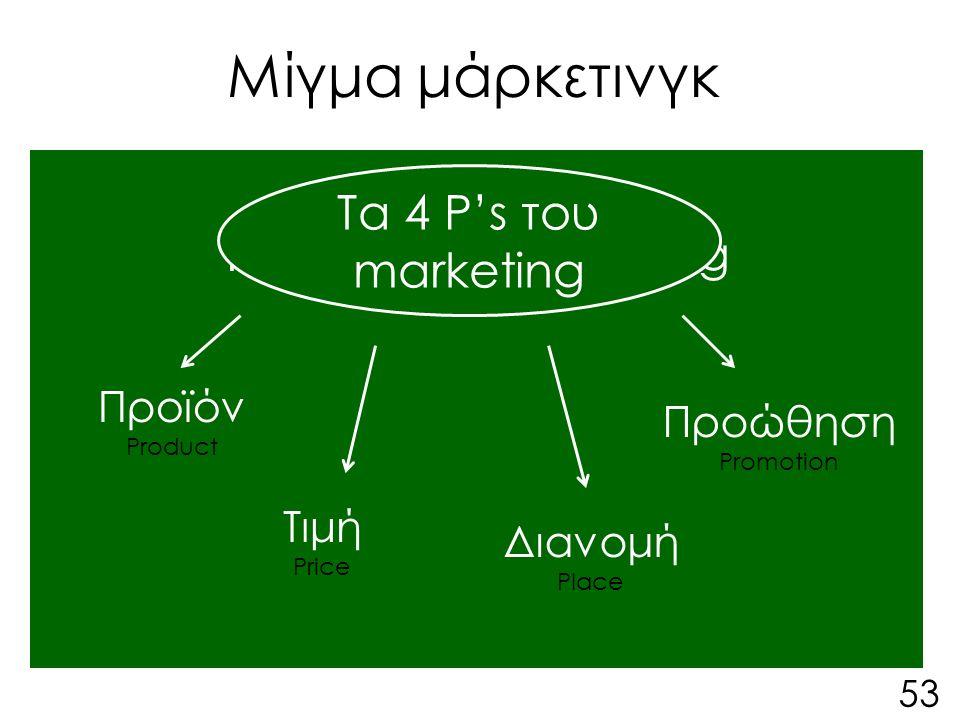 Μίγμα μάρκετινγκ Τα 4 P's του marketing Προϊόν Product Τιμή Price Διανομή Place Προώθηση Promotion Τα 4 P's του marketing 53