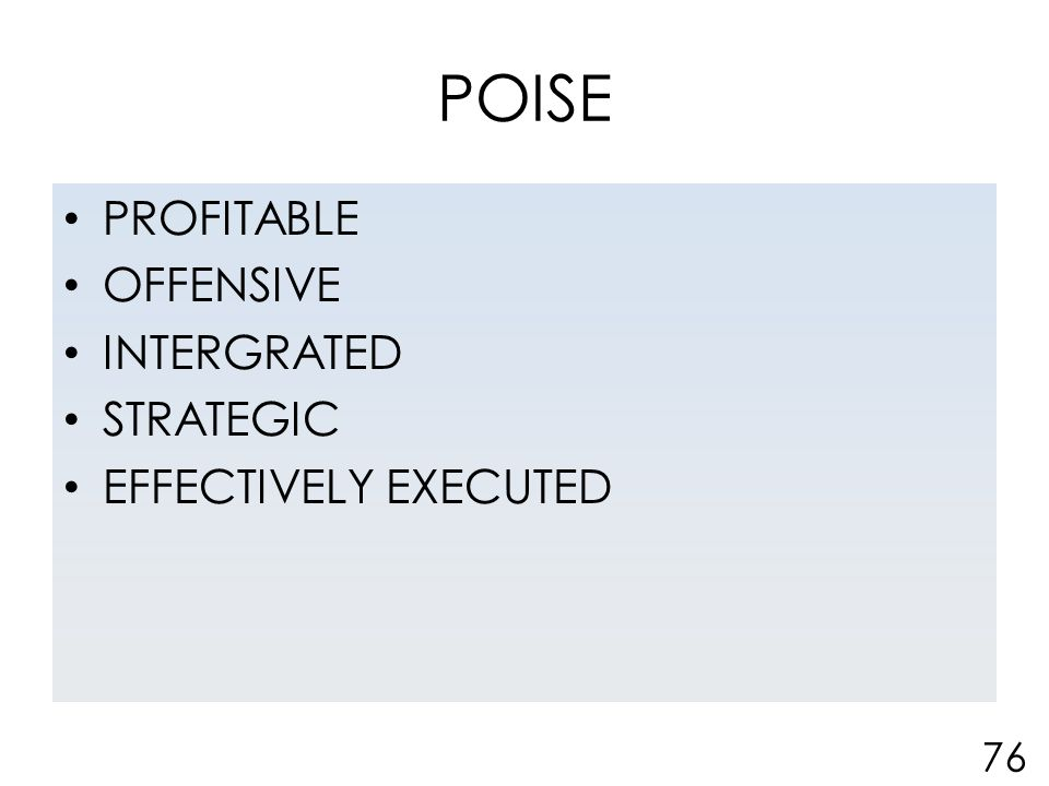 POISE PROFITABLE OFFENSIVE INTERGRATED STRATEGIC EFFECTIVELY EXECUTED 76