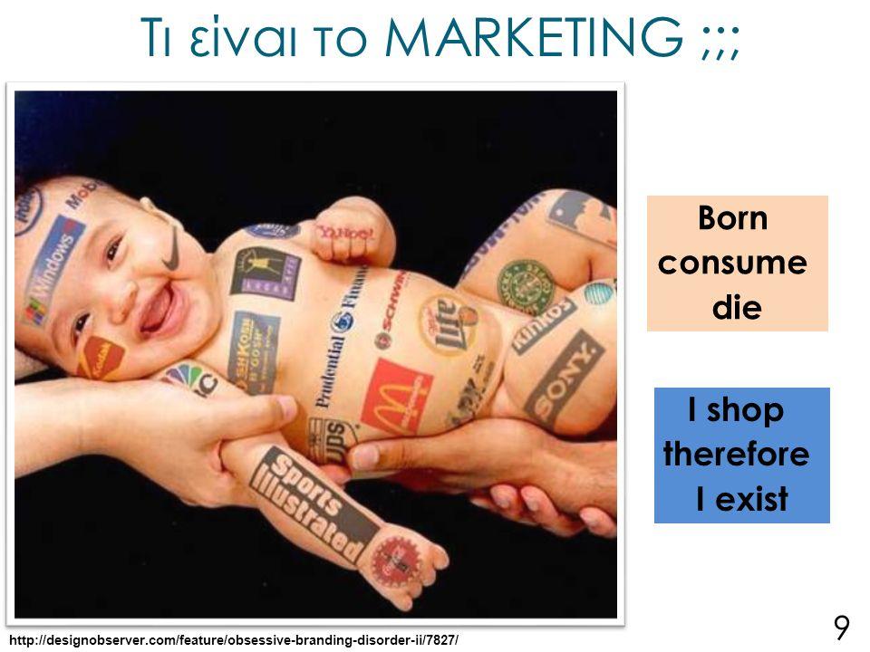 Επέκταση του Μάρκετινγκ σε μη παραδοσιακούς κλάδους Marketing σε μη κερδοσκοπικούς οργανισμούς Προσώπων - Person Marketing Τοποθεσιών - Place Marketing Σκοπών - Cause Marketing Γεγονότων - Event Marketing Διοίκησης Αντιλήψεων 20
