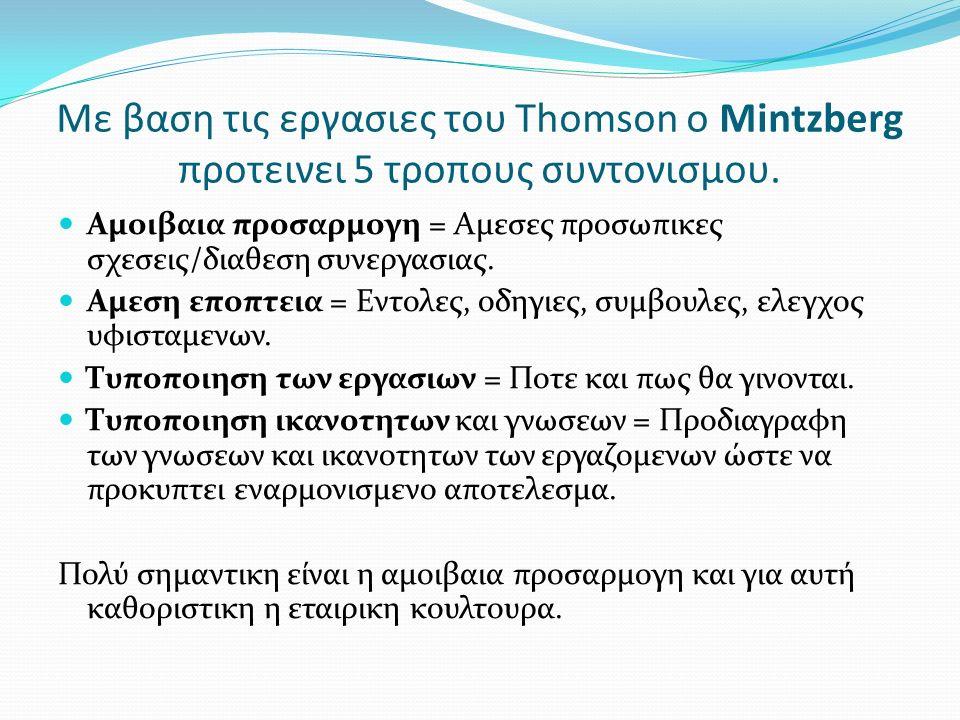 Με βαση τις εργασιες του Thomson o Mintzberg προτεινει 5 τροπους συντονισμου. Αμοιβαια προσαρμογη = Αμεσες προσωπικες σχεσεις/διαθεση συνεργασιας. Αμε