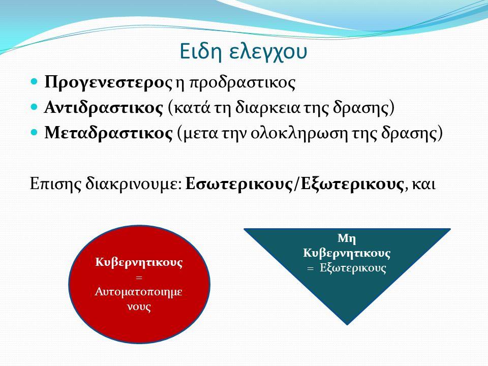 Ειδη ελεγχου Προγενεστερος η προδραστικος Αντιδραστικος (κατά τη διαρκεια της δρασης) Μεταδραστικος (μετα την ολοκληρωση της δρασης) Επισης διακρινουμ