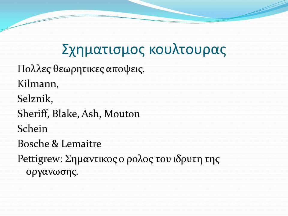Σχηματισμος κουλτουρας Πολλες θεωρητικες αποψεις. Kilmann, Selznik, Sheriff, Blake, Ash, Mouton Schein Bosche & Lemaitre Pettigrew: Σημαντικος ο ρολος