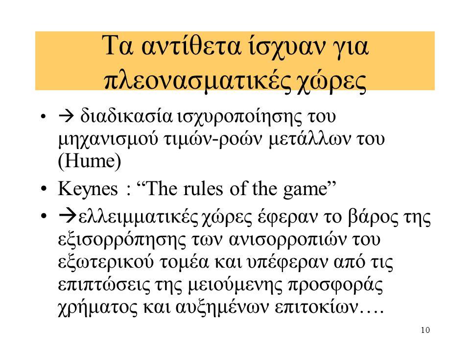 """10 Τα αντίθετα ίσχυαν για πλεονασματικές χώρες  διαδικασία ισχυροποίησης του μηχανισμού τιμών-ροών μετάλλων του (Hume) Keynes : """"The rules of the gam"""