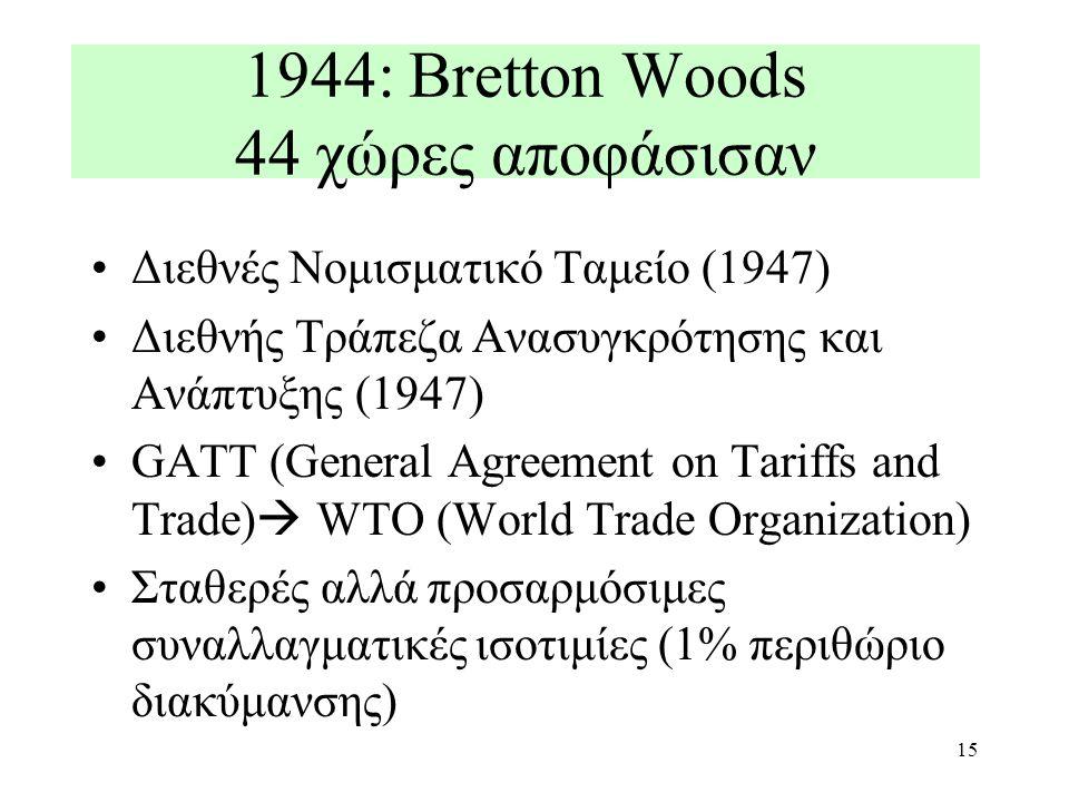 15 1944: Bretton Woods 44 χώρες αποφάσισαν Διεθνές Νομισματικό Ταμείο (1947) Διεθνής Τράπεζα Ανασυγκρότησης και Ανάπτυξης (1947) GATT (General Agreeme