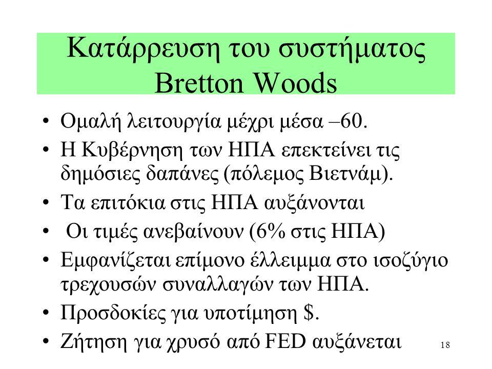 18 Κατάρρευση του συστήματος Bretton Woods Ομαλή λειτουργία μέχρι μέσα –60. Η Κυβέρνηση των ΗΠΑ επεκτείνει τις δημόσιες δαπάνες (πόλεμος Βιετνάμ). Τα