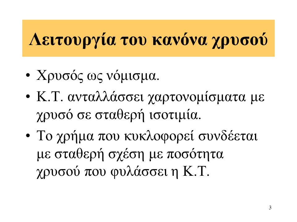 3 Λειτουργία του κανόνα χρυσού Χρυσός ως νόμισμα. Κ.Τ.