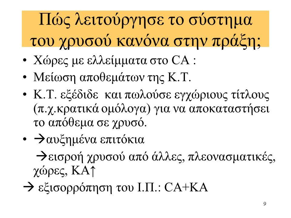 10 Τα αντίθετα ίσχυαν για πλεονασματικές χώρες  διαδικασία ισχυροποίησης του μηχανισμού τιμών-ροών μετάλλων του (Hume) Keynes : The rules of the game  ελλειμματικές χώρες έφεραν το βάρος της εξισορρόπησης των ανισορροπιών του εξωτερικού τομέα και υπέφεραν από τις επιπτώσεις της μειούμενης προσφοράς χρήματος και αυξημένων επιτοκίων….