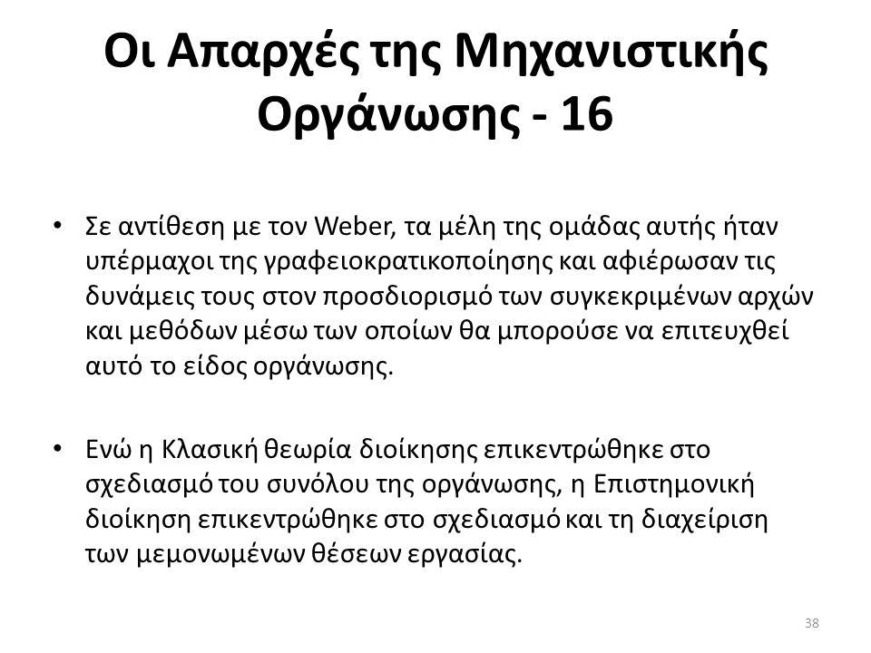 Οι Απαρχές της Μηχανιστικής Οργάνωσης - 16 Σε αντίθεση με τον Weber, τα μέλη της ομάδας αυτής ήταν υπέρμαχοι της γραφειοκρατικοποίησης και αφιέρωσαν τ