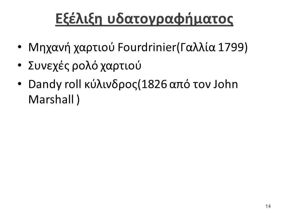 Εξέλιξη υδατογραφήματος Μηχανή χαρτιού Fourdrinier(Γαλλία 1799) Συνεχές ρολό χαρτιού Dandy roll κύλινδρος(1826 από τον John Marshall ) 14