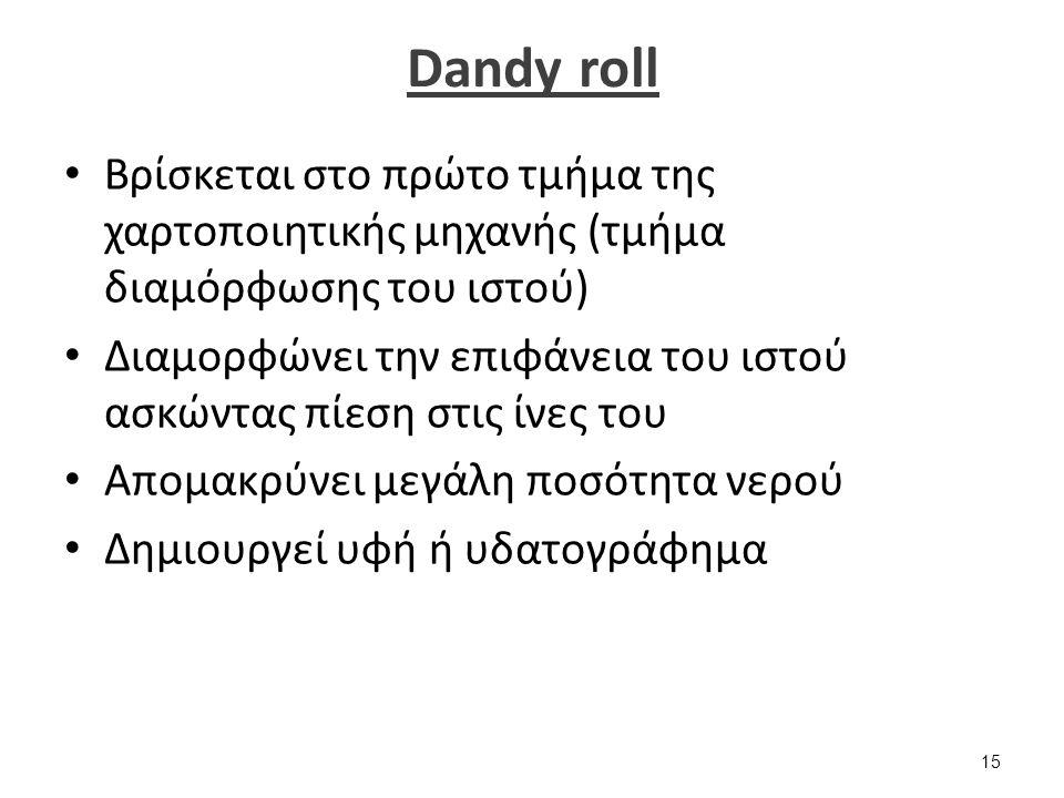Dandy roll Βρίσκεται στο πρώτο τμήμα της χαρτοποιητικής μηχανής (τμήμα διαμόρφωσης του ιστού) Διαμορφώνει την επιφάνεια του ιστού ασκώντας πίεση στις ίνες του Απομακρύνει μεγάλη ποσότητα νερού Δημιουργεί υφή ή υδατογράφημα 15
