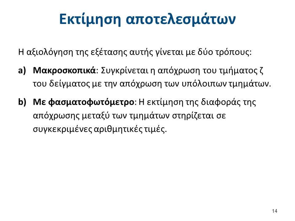 Εκτίμηση αποτελεσμάτων Η αξιολόγηση της εξέτασης αυτής γίνεται με δύο τρόπους: a)Μακροσκοπικά: Συγκρίνεται η απόχρωση του τμήματος ζ του δείγματος με την απόχρωση των υπόλοιπων τμημάτων.