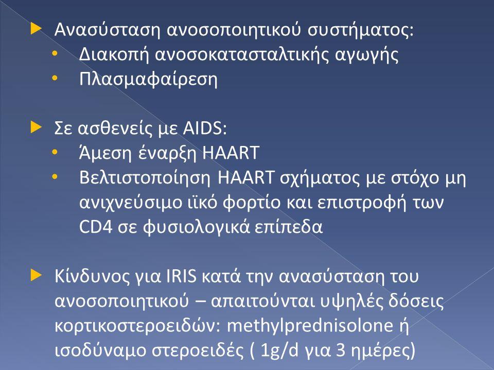  Ανασύσταση ανοσοποιητικού συστήματος: Διακοπή ανοσοκατασταλτικής αγωγής Πλασμαφαίρεση  Σε ασθενείς με AIDS: Άμεση έναρξη HAART Βελτιστοποίηση HAART σχήματος με στόχο μη ανιχνεύσιμο ιϊκό φορτίο και επιστροφή των CD4 σε φυσιολογικά επίπεδα  Κίνδυνος για IRIS κατά την ανασύσταση του ανοσοποιητικού – απαιτούνται υψηλές δόσεις κορτικοστεροειδών: methylprednisolone ή ισοδύναμο στεροειδές ( 1g/d για 3 ημέρες)
