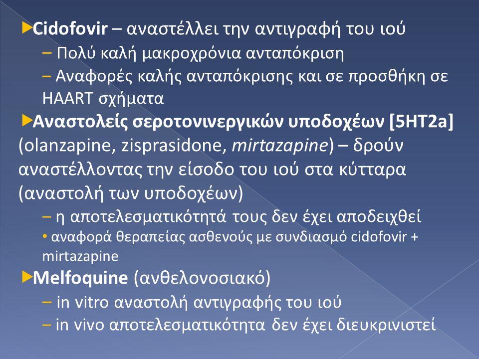  Cidofovir – αναστέλλει την αντιγραφή του ιού ‒ Πολύ καλή μακροχρόνια ανταπόκριση ‒ Αναφορές καλής ανταπόκρισης και σε προσθήκη σε HAART σχήματα  Αναστολείς σεροτονινεργικών υποδοχέων [5ΗΤ2a] (olanzapine, zisprasidone, mirtazapine) – δρούν αναστέλλοντας την είσοδο του ιού στα κύτταρα (αναστολή των υποδοχέων) ‒ η αποτελεσματικότητά τους δεν έχει αποδειχθεί αναφορά θεραπείας ασθενούς με συνδιασμό cidofovir + mirtazapine  Melfoquine (ανθελονοσιακό) ‒ in vitro αναστολή αντιγραφής του ιού ‒ in vivo αποτελεσματικότητα δεν έχει διευκρινιστεί