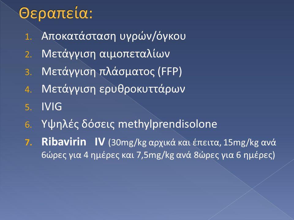 1. Αποκατάσταση υγρών/όγκου 2. Μετάγγιση αιμοπεταλίων 3. Μετάγγιση πλάσματος (FFP) 4. Μετάγγιση ερυθροκυττάρων 5. IVIG 6. Υψηλές δόσεις methylprendiso