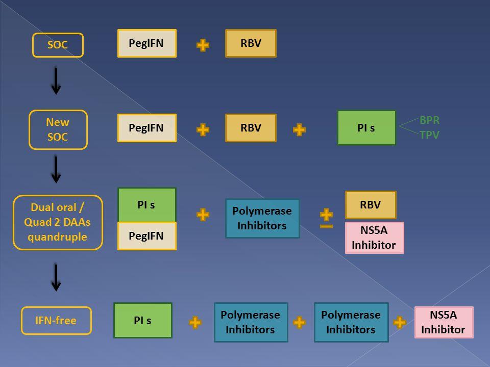 PegIFNRBV PegIFNRBV PI s BPR TPV PI s PegIFN Polymerase Inhibitors RBV NS5A Inhibitor PI s Polymerase Inhibitors NS5A Inhibitor SOC New SOC Dual oral / Quad 2 DAAs quandruple IFN-free