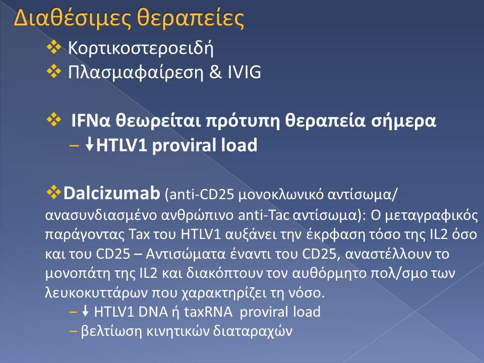  Κορτικοστεροειδή  Πλασμαφαίρεση & ΙVIG  IFNα θεωρείται πρότυπη θεραπεία σήμερα ‒  ΗΤLV1 proviral load  Dalcizumab (anti-CD25 μονοκλωνικό αντίσωμ