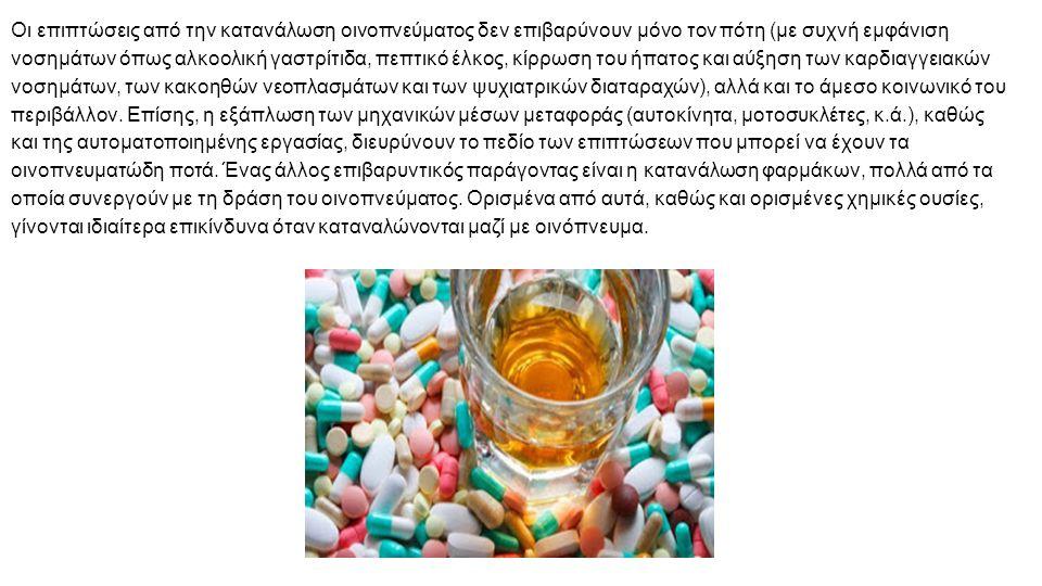 Οι επιπτώσεις από την κατανάλωση οινοπνεύματος δεν επιβαρύνουν μόνο τον πότη (με συχνή εμφάνιση νοσημάτων όπως αλκοολική γαστρίτιδα, πεπτικό έλκος, κίρρωση του ήπατος και αύξηση των καρδιαγγειακών νοσημάτων, των κακοηθών νεοπλασμάτων και των ψυχιατρικών διαταραχών), αλλά και το άμεσο κοινωνικό του περιβάλλον.
