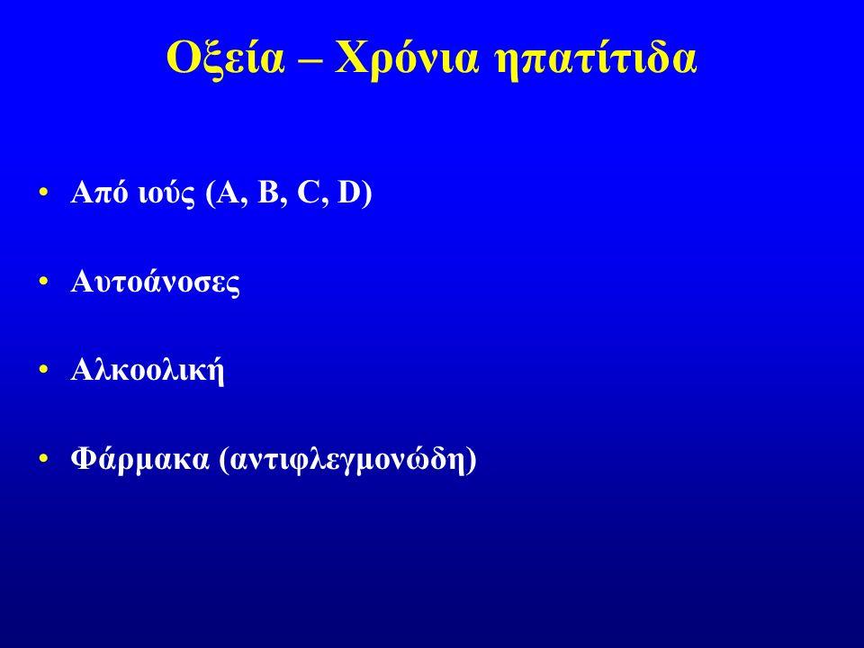 Οξεία – Χρόνια ηπατίτιδα Από ιούς (A, B, C, D) Αυτοάνοσες Αλκοολική Φάρμακα (αντιφλεγμονώδη)