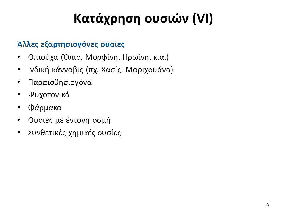 Κατάχρηση ουσιών (VI) Άλλες εξαρτησιογόνες ουσίες Οπιούχα (Όπιο, Μορφίνη, Ηρωίνη, κ.α.) Ινδική κάνναβις (πχ.