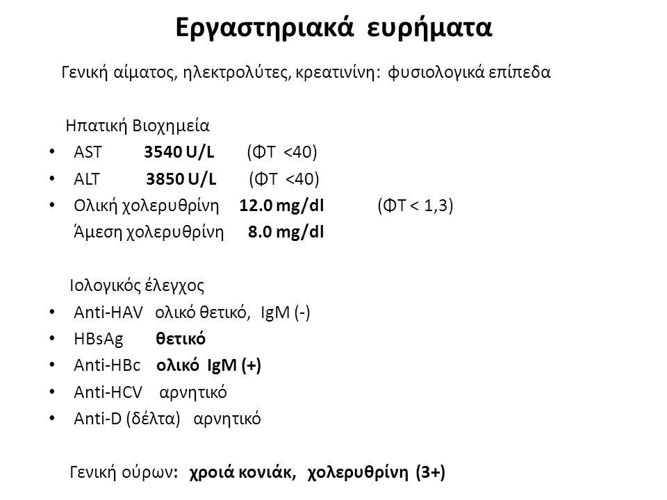 Εργαστηριακά ευρήματα Γενική αίματος, ηλεκτρολύτες, κρεατινίνη: φυσιολογικά επίπεδα Ηπατική Βιοχημεία ΑST 3540 U/L (ΦΤ <40) ALT 3850 U/L (ΦΤ <40) Ολικ