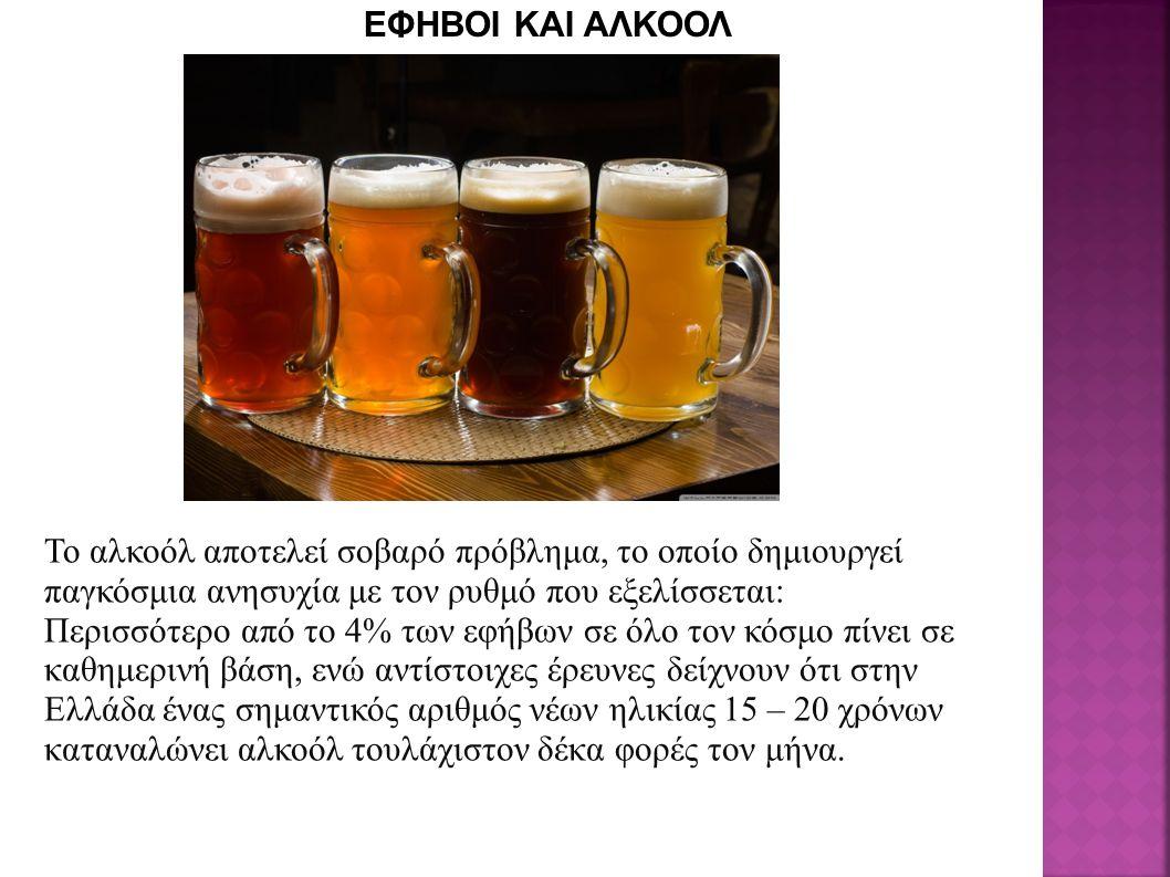 Το αλκοόλ αποτελεί σοβαρό πρόβλημα, το οποίο δημιουργεί παγκόσμια ανησυχία με τον ρυθμό που εξελίσσεται: Περισσότερο από το 4% των εφήβων σε όλο τον κόσμο πίνει σε καθημερινή βάση, ενώ αντίστοιχες έρευνες δείχνουν ότι στην Ελλάδα ένας σημαντικός αριθμός νέων ηλικίας 15 – 20 χρόνων καταναλώνει αλκοόλ τουλάχιστον δέκα φορές τον μήνα.