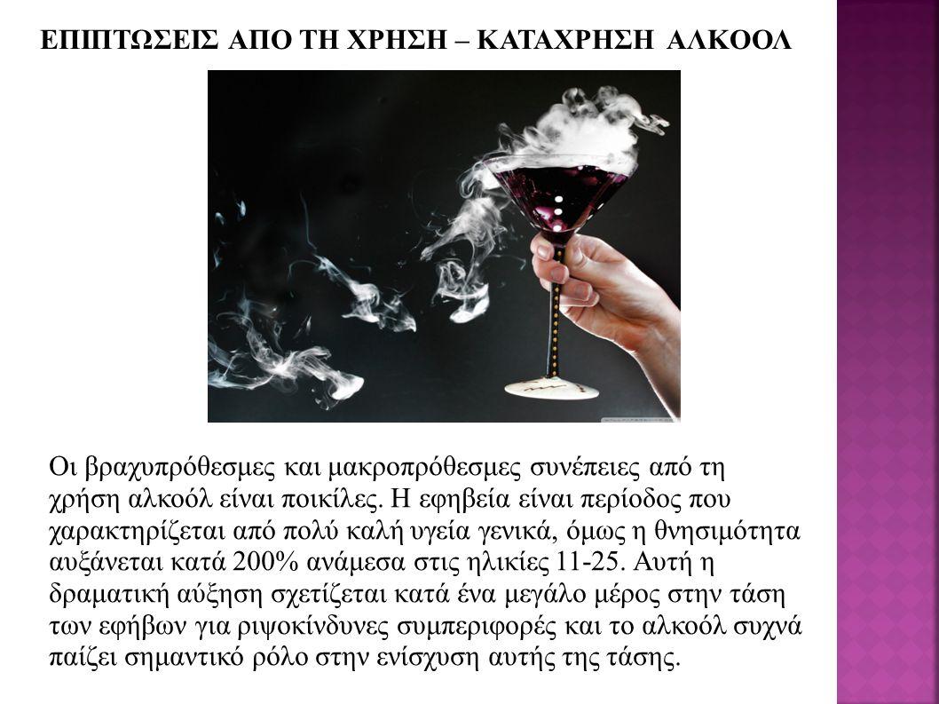 ΕΠΙΠΤΩΣΕΙΣ ΑΠΟ ΤΗ ΧΡΗΣΗ – ΚΑΤΑΧΡΗΣΗ ΑΛΚΟΟΛ Οι βραχυπρόθεσμες και μακροπρόθεσμες συνέπειες από τη χρήση αλκοόλ είναι ποικίλες.