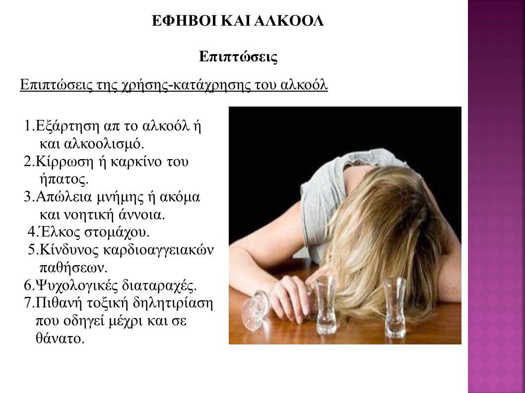EΦΗΒΟΙ ΚΑΙ ΑΛΚΟΟΛ Επιπτώσεις Επιπτώσεις της χρήσης-κατάχρησης του αλκοόλ 1.Εξάρτηση απ το αλκοόλ ή και αλκοολισμό. 2.Κίρρωση ή καρκίνο του ήπατος. 3.Α