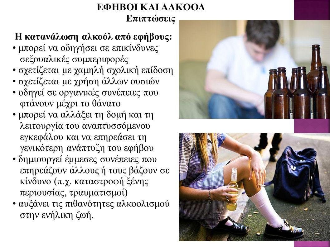 Η κατανάλωση αλκοόλ από εφήβους: μπορεί να οδηγήσει σε επικίνδυνες σεξουαλικές συμπεριφορές σχετίζεται με χαμηλή σχολική επίδοση σχετίζεται με χρήση άλλων ουσιών οδηγεί σε οργανικές συνέπειες που φτάνουν μέχρι το θάνατο μπορεί να αλλάξει τη δομή και τη λειτουργία του αναπτυσσόμενου εγκεφάλου και να επηρεάσει τη γενικότερη ανάπτυξη του εφήβου δημιουργεί έμμεσες συνέπειες που επηρεάζουν άλλους ή τους βάζουν σε κίνδυνο (π.χ.
