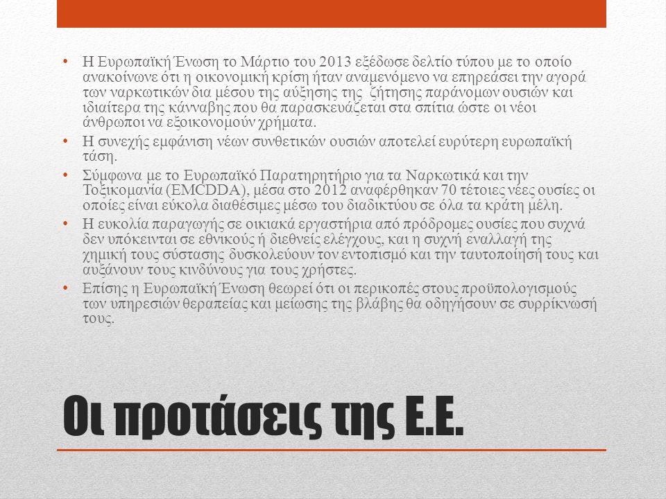 Οι προτάσεις της Ε.Ε. Η Ευρωπαϊκή Ένωση το Μάρτιο του 2013 εξέδωσε δελτίο τύπου με το οποίο ανακοίνωνε ότι η οικονομική κρίση ήταν αναμενόμενο να επηρ