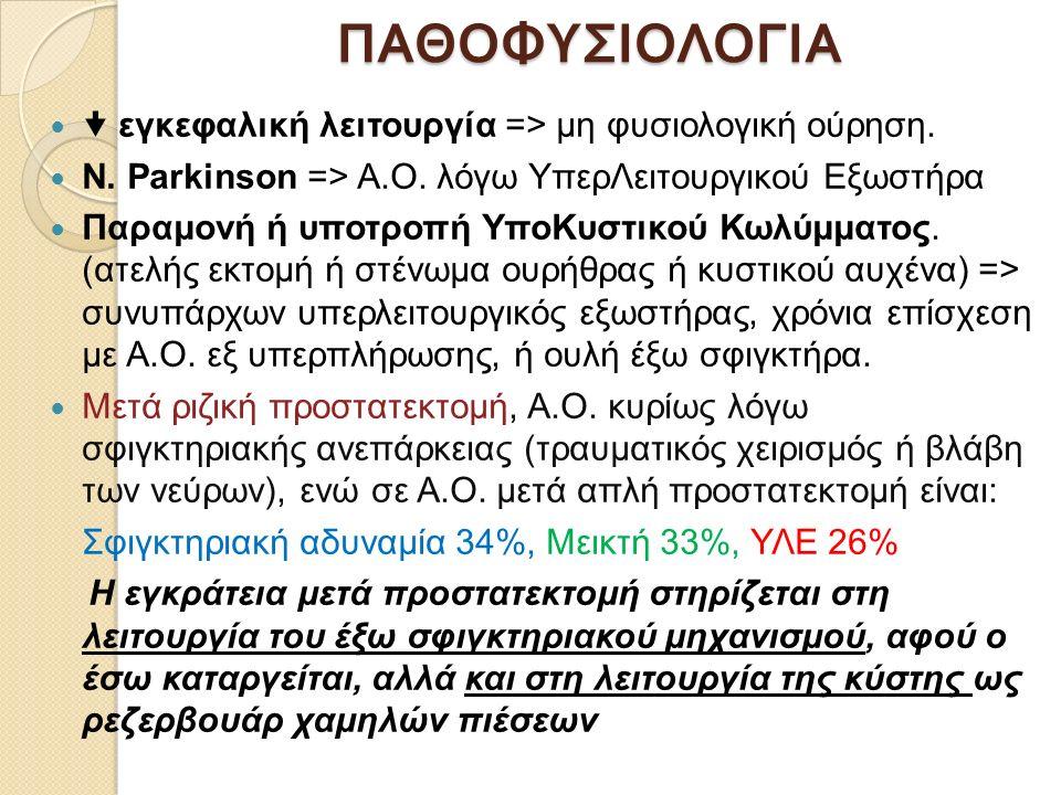 ΠΑΘΟΦΥΣΙΟΛΟΓΙΑ  εγκεφαλική λειτουργία => μη φυσιολογική ούρηση. Ν. Parkinson => Α.Ο. λόγω ΥπερΛειτουργικού Εξωστήρα Παραμονή ή υποτροπή ΥποΚυστικού Κ